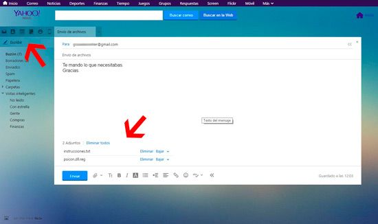 Adjuntar archivos en correo Yahoo