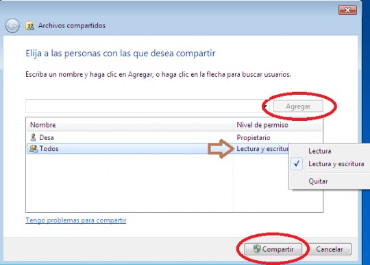 Compartir carpetas en Windows