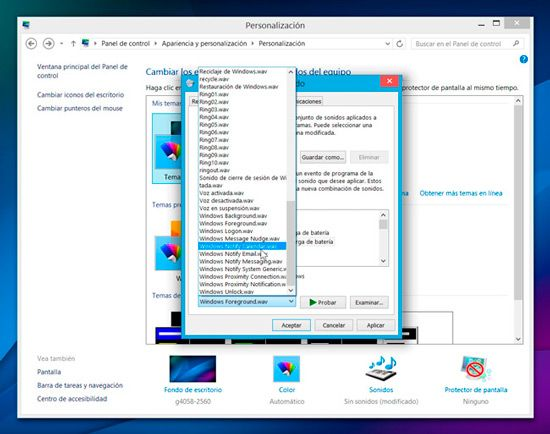Personalizar sonidos de Windows-