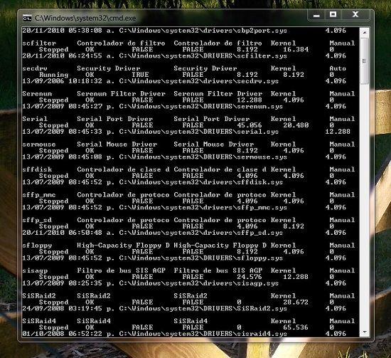 Drivers instalados en la PC