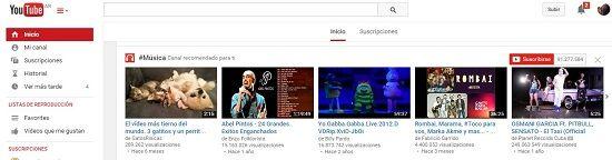 Escuchar música en YouTube