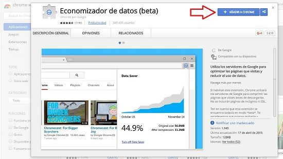 Ahorrar datos en Chrome