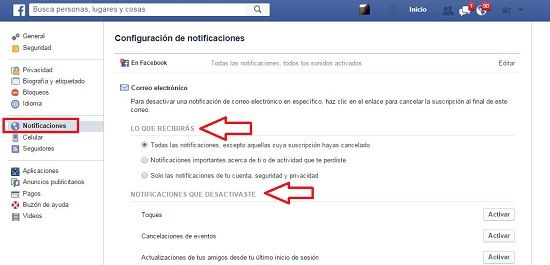 Quitar notificaciones de Facebook