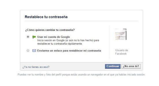 Recuperar contraseña de Facebook