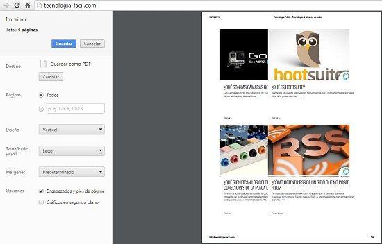 Impresión en formato PDF