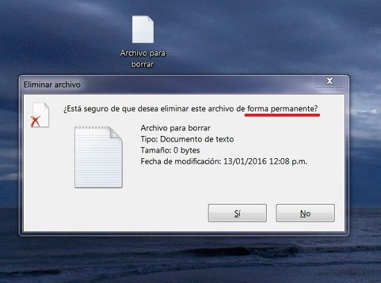 Borrar archivos para siempre