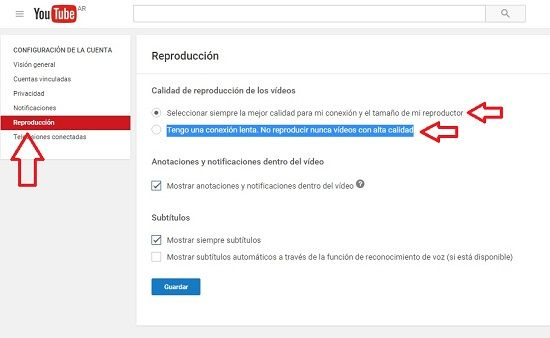 Controles básicos de YouTube