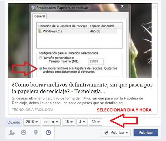 Programar publicación en Facebook
