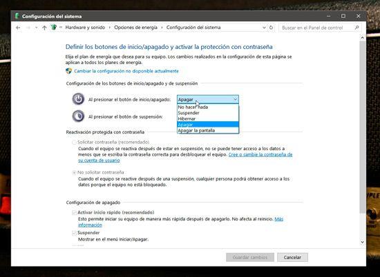 Apagar más rápido Windows
