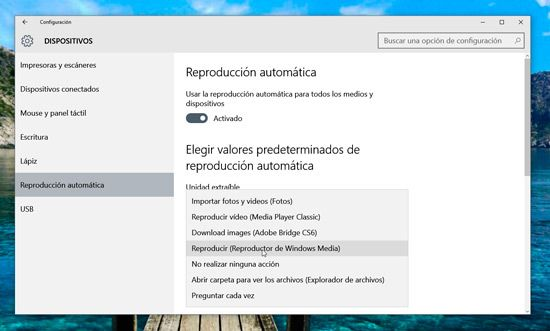 Desactivar autoplay en Windows