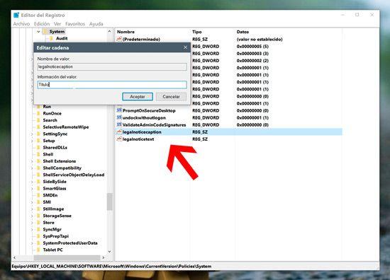 Mensaje en pantalla de inicio Windows 10