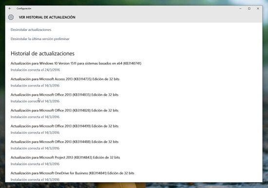 Quitar actualizaciones en Windows 10