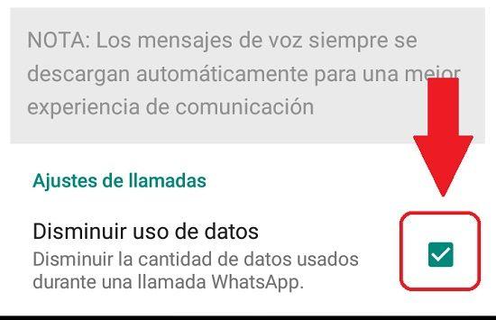 Configurar uso de internet en WhatsApp