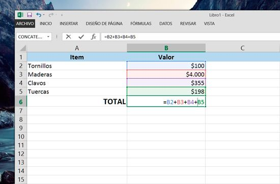 Sumas en Excel