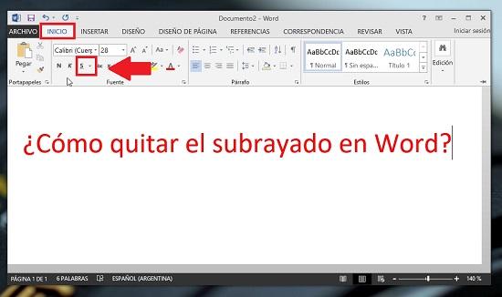 como quitar el subrayado en word mac